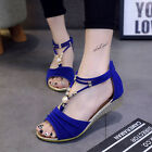 Fashion Summer Women T Strap Beach Shoes Beaded Flat Sandals Wedge Ankle Strap
