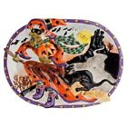 FITZ & FLOYD~WITCH HAZEL LG HALLOWEEN PLATTER/TRAY~BLACK CAT~HAUNTED HOUSE~NIB!