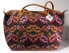 NWT Founders Imports Fair Trade Hand Woven Guatemalan Embroidery Leather Handbag