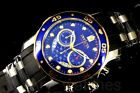 New Invicta Pro Diver 48MM Chronograph Multifunction Blue Dial Black Strap Watch