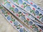VINTAGE PINK AND BLUE ROSE FLOWERS WITH GREEN LEAVES RIBBON TRIM    1 YARD