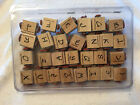 USED STAMPIN UP ALPHABET UPPER LOWER CASE LETTER WOOD MOUNT RUBBER STAMPS
