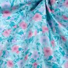 Vintage Polished Cotton Fabric Soft Aqua  Pink Flowers Per 1 2 Yd