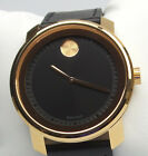 MOVADO BOLD 3600376 Men's Rose-Gold Case Black Dial Leather Strap Watch $595 NEW