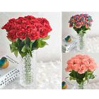 2 PCS Home Table Artificial Silk Fake Rose Flowers Decor for Wedding Party US