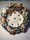 Fitz and Floyd Classic Christmas Wreath Candy, Fruit Bowl. Detailed and Precious