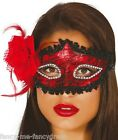 Ladies Sexy Red Black Lace Masquerade Ball Carnival Eye Mask Fancy Dress Costume