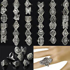 50pcs Wholesale Bulk Jewelry Lots of Mixed Style Tibet Silver Vintage Rings Gift