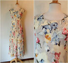 Vintage 90's Ann Tayor Silk Pale Cream W/ Blues & Pinks Flowers Maxi Dress B 34
