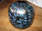 ISLE OF WIGHT GLASS VASE MULTI COLOR PEACOCK  STUDIO GLASS MARKED
