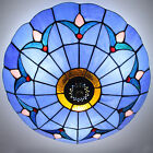 Tiffany Style Stained Glass Ceiling Lighting Fixture Flush Mount Vintage Light