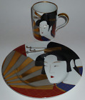 FITZ FLOYD FINE CHINA GEISHA 2-PIECE LOT CUP MUG LUNCH PLATE COMB LEFT