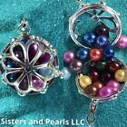 Large Silver Tone Flower Round Cage Pendant For Pearl Akoya Oyster Holds 20