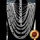 ITALY 925 SOLID Sterling Silver FIGARO Chain Necklace or Bracelet 7 34 925