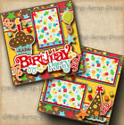 BIRTHDAY PARTY 2 premade scrapbook pages paper piecing layout BY DIGISCRAP A0102