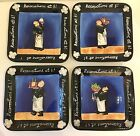 Dansk Hand Painted Reservations at 8 Plates, Waiters, Tracy Flickinger, Set of 4