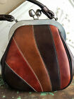 Vintage 60's Purse stripe Multi Color Faux Leather Giant Kiss Lock marked Kadin