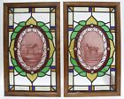 OLD ARCHITECTURAL PAINTED STAINED GLASS WINDOW PANELS PERCHERON CLEVELAND HORSES