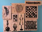 CLUB SCRAP Rubber Stamp Lot 9 pcs 2002 04 Dress Form Chess Board Feather Ruler
