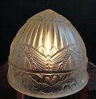 Antique Art Deco Frosted Glass Shade w Butterflies for Chandelier or Table Lamp