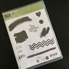 Stampin Up WORK OF ART Stamp Set 11pc Set Thank You Chevron Heart Used