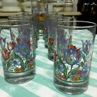Corelle Cooridinates 9 Glasses FRESH CUT Blue  Tulip. 8 Juice 1 Tumbler. Excelle
