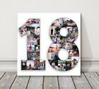 Number Photo Collage Canvas Print 1 2 3 18 21 50 70 80  birthday present gift