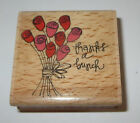 Thanks A Bunch Rubber Stamp Roses Bouquet Flowers Wood Mounted 2