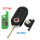 Remote Key Fob 433MHz For Fiat 500 Grande Punto 2010-2017 PCF7946/PCF7946AT Chip