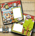 FAMILY 2 premade scrapbook pages paper piecing LAYOUT BOY GIRL DIGISCRAP A0014