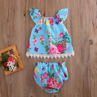 US Newborn Baby Girls Summer Clothes Set Floral T Shirt Tops+Shorts 2pcs Outfits