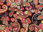 Cotton Flannel Fabric New Paisley Flower Black Pink 11 2 Yards