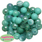 Assorted Styles 20mm Mint Teal and Turquoise Chunky Bubblegum Beads 52 pc