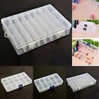 Plastic 15 10 24 Slots Adjustable Jewelry Storage Box Case Craft Organizer Beads