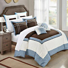 Ballroom Blue Brown  White 7 Piece Comforter Bed In A Bag Set