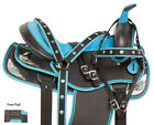 14 15 16 WESTERN PLEASURE TRAIL BARREL RACING HORSE SADDLE TACK SET BLUE CRYSTAL