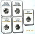 2001 COMPLETE 5 COIN SET NGC SILVER PR69/UC