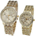 royal lady mens jelly watch women lovers' golden crystal steel band luxury time