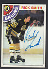 Rick Smith Autographed 1978-79 Topps Hockey Card #164 Bruins SGC Authentic