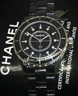 Chanel J12 Black 38mm Ceramic Diamond Dial Quartz Watch Box/Papers H2124