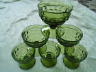 6 Vtg. Olive Green INDIANA GLASS Whitehall Colony Cubist Footed Sherbet Dishes