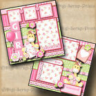 BABY GIRL 2 premade scrapbook pages paper piecing layout BY DIGISCRAP A0057
