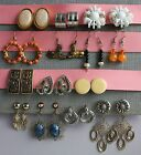 Lot of 14 pairs of Pierced and Clip-on Earrings: Metal, Glass, Beaded, VTG Retro