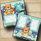 BABY BOY 2 premade scrapbook pages paper piecing layout 4 album DIGISCRAP A0049