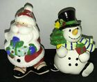NIB Fitz and Floyd Cheers Snowman and Christmas Tree Salt & Pepper Shakers
