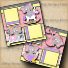 BABY GIRL 2 pre made scrapbook pages for album layout paper DIGISCRAP A0055