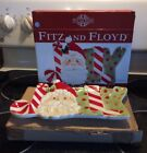 Fits & Floyd Snack Therapy Jolly Santa Candy Cane Tray Dish Serving Christmas