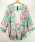 Casey Key NEW Pink Green Floral Chiffon Lace Trim Tropical Tunic