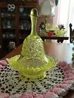 Vaseline Victorian Covered Butter Dish Bell on stand Button and Daisy Pattern