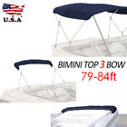 BIMINI TOP 3 Bow 46 Boat Cover Navy Blue 79 84 Wide 6ft Long With Rear Poles